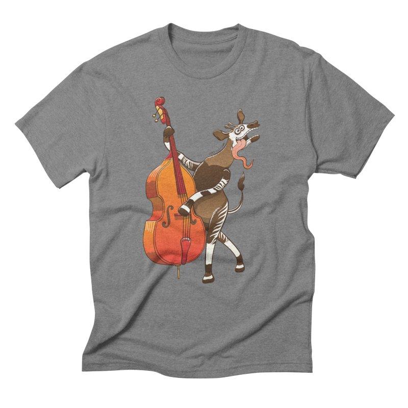 Cool okapi having fun playing double bass Men's Triblend T-shirt by Zoo&co's Artist Shop