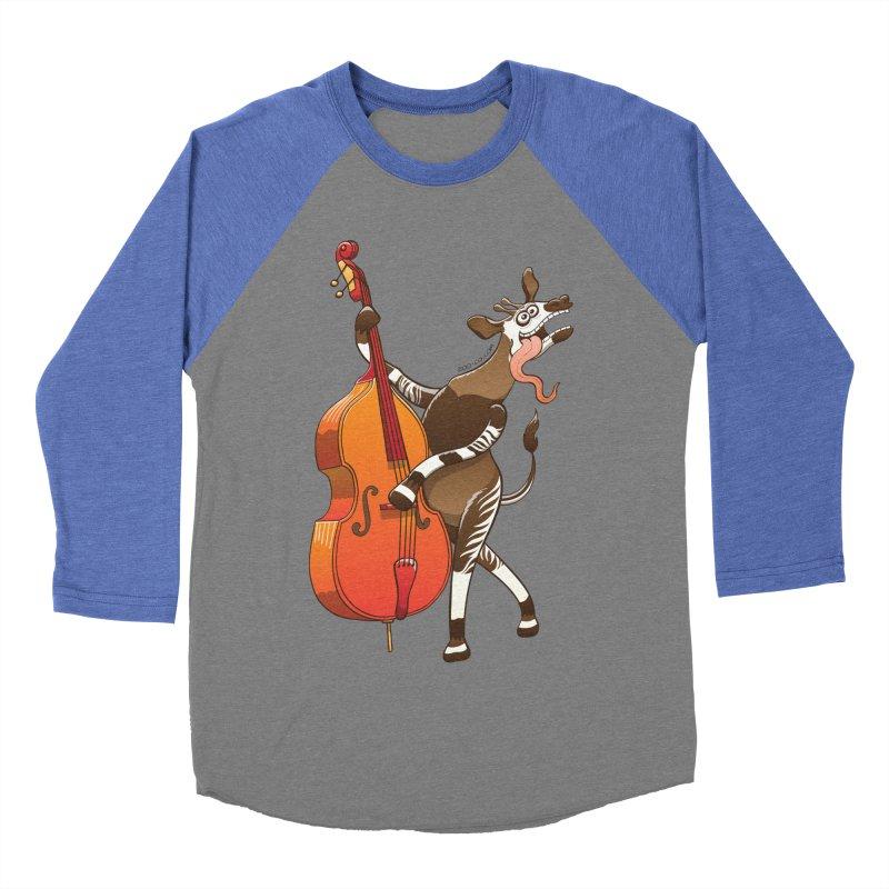Cool okapi having fun playing double bass Women's Baseball Triblend T-Shirt by Zoo&co's Artist Shop