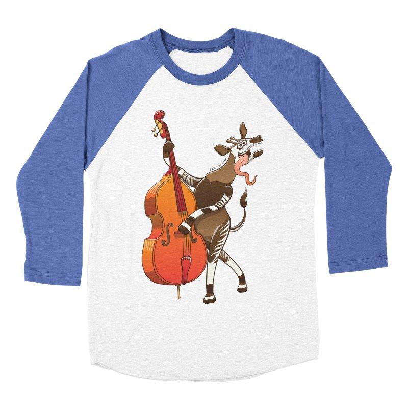 Cool okapi having fun playing double bass Men's Baseball Triblend T-Shirt by Zoo&co's Artist Shop