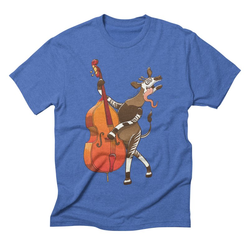 Cool okapi having fun playing double bass Men's Triblend T-shirt by Zoo&co's Artist Shop