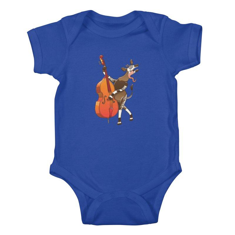 Cool okapi having fun playing double bass Kids Baby Bodysuit by Zoo&co's Artist Shop
