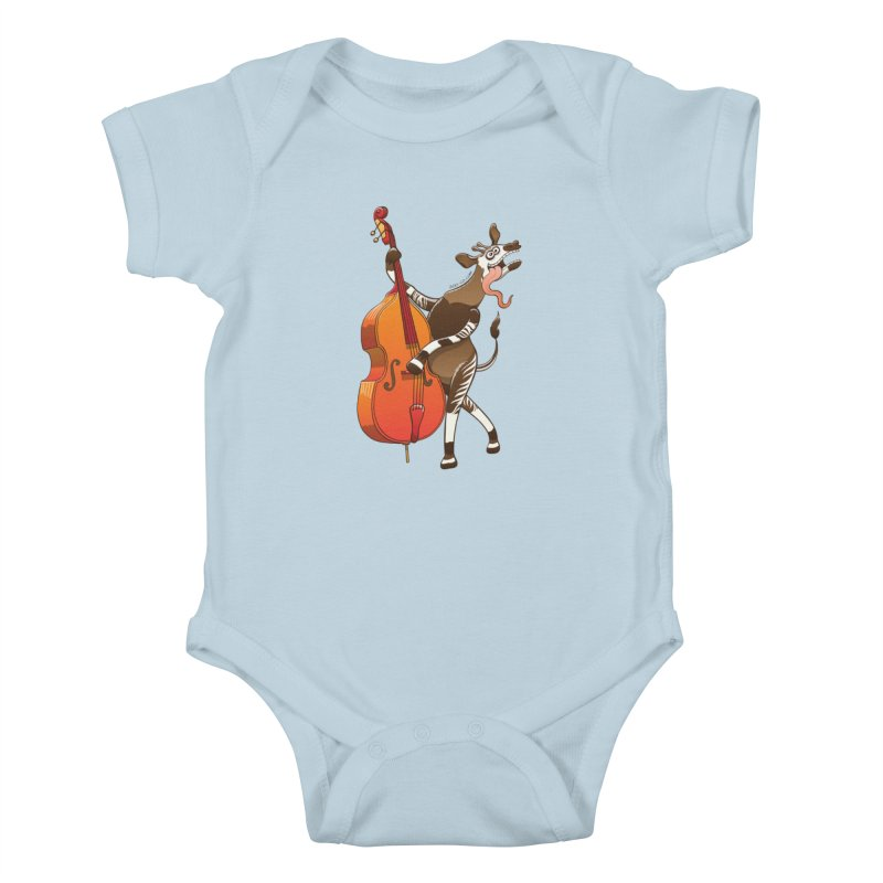 Cool okapi having fun playing double bass Kids Baby Bodysuit by Zoo&co's Artist Shop