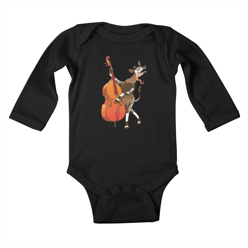 Cool okapi having fun playing double bass Kids Baby Longsleeve Bodysuit by Zoo&co's Artist Shop