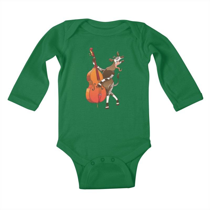 Cool okapi having fun playing double bass Kids Baby Longsleeve Bodysuit by Zoo&co's Artist Shop