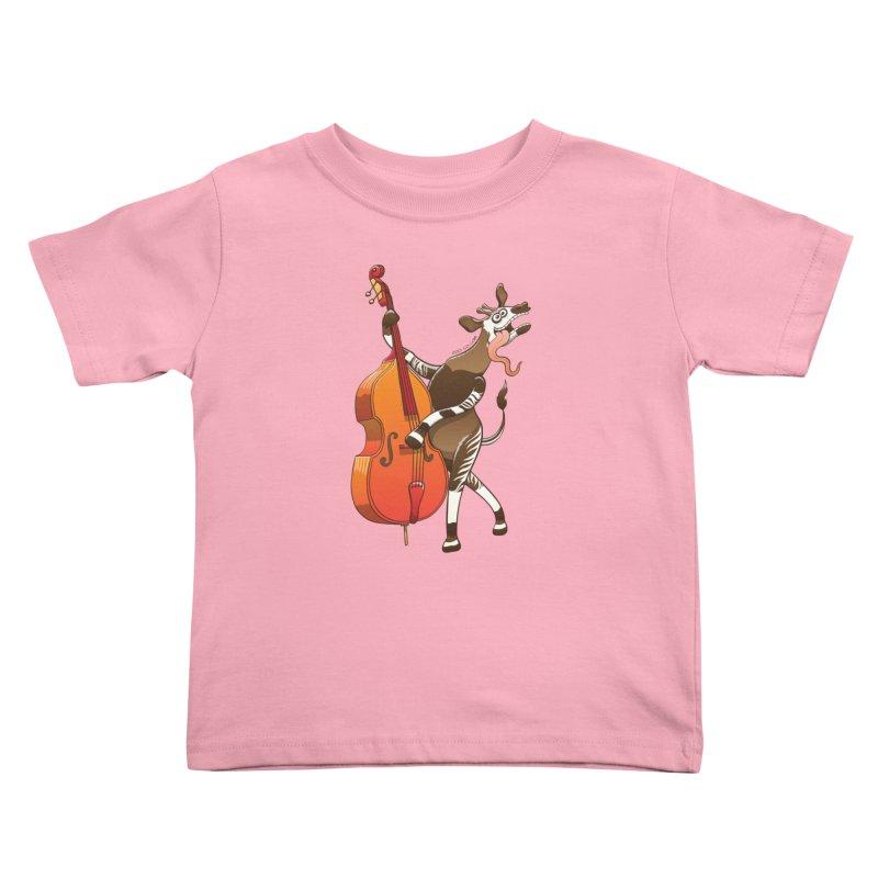 Cool okapi having fun playing double bass Kids Toddler T-Shirt by Zoo&co's Artist Shop
