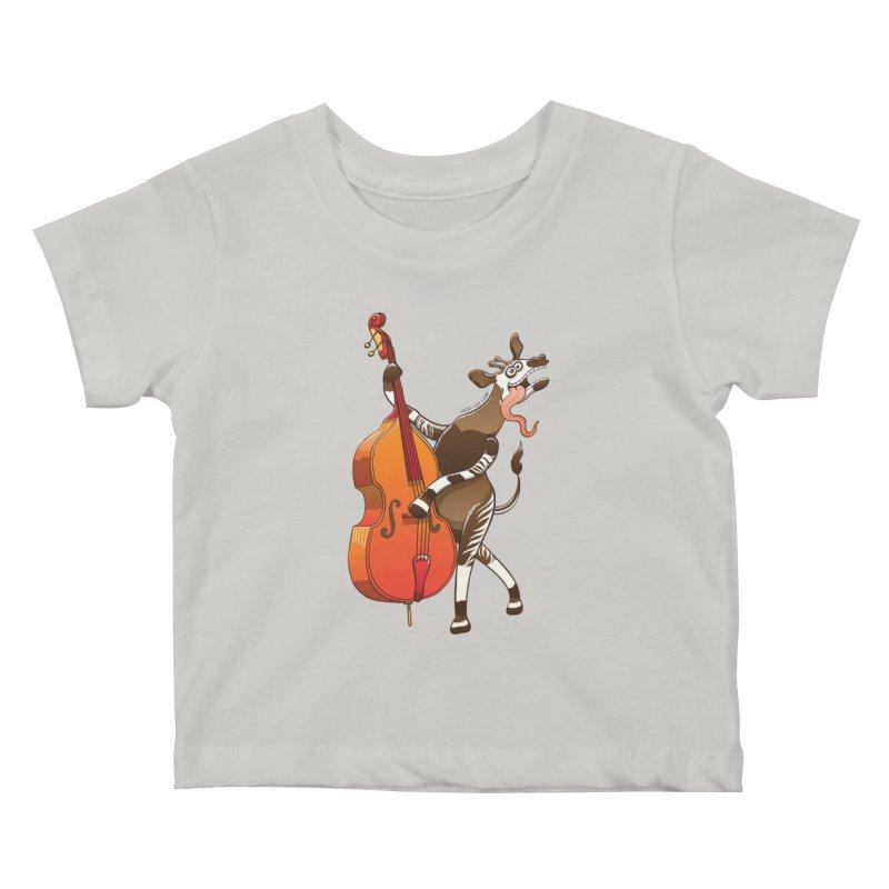 Cool okapi having fun playing double bass Kids Baby T-Shirt by Zoo&co's Artist Shop