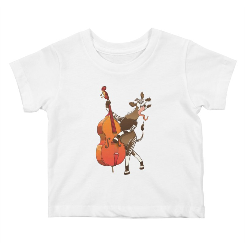 Cool okapi having fun playing double bass Kids Baby T-Shirt by Zoo&co's Artist Shop