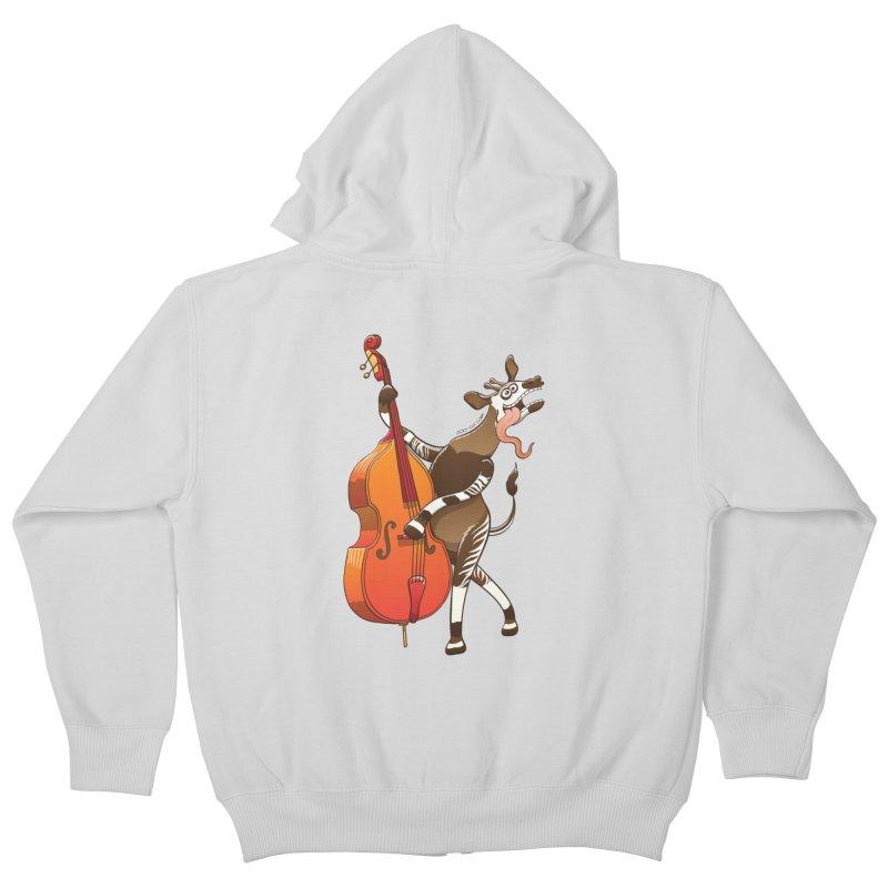 Cool okapi having fun playing double bass Kids Zip-Up Hoody by Zoo&co's Artist Shop