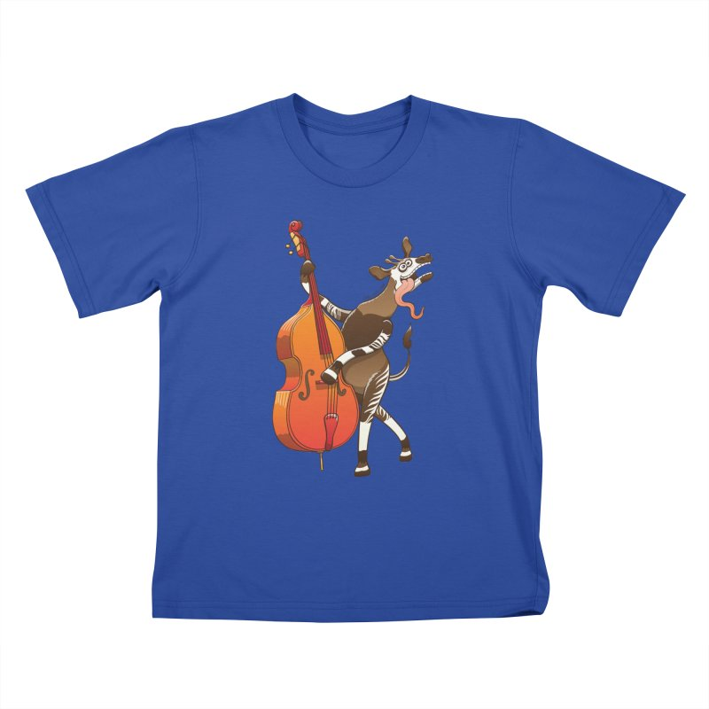 Cool okapi having fun playing double bass Kids T-shirt by Zoo&co's Artist Shop