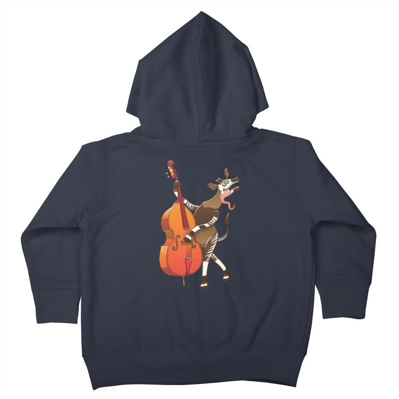 Cool okapi having fun playing double bass Kids Toddler Zip-Up Hoody by Zoo&co's Artist Shop