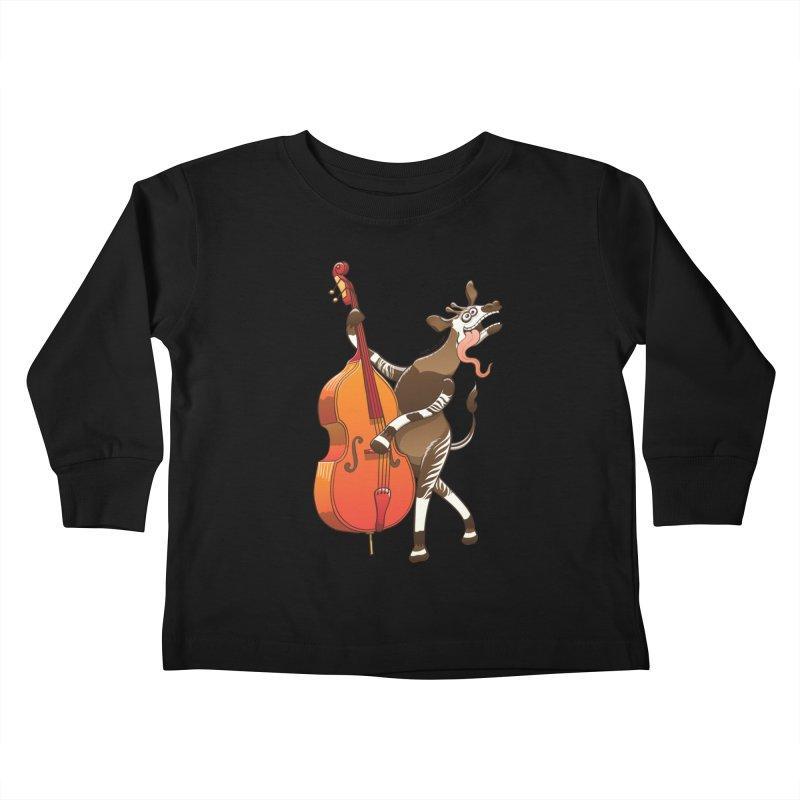 Cool okapi having fun playing double bass Kids Toddler Longsleeve T-Shirt by Zoo&co's Artist Shop