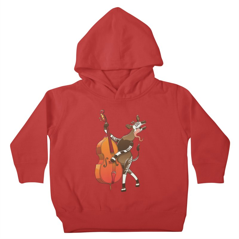 Cool okapi having fun playing double bass Kids Toddler Pullover Hoody by Zoo&co's Artist Shop