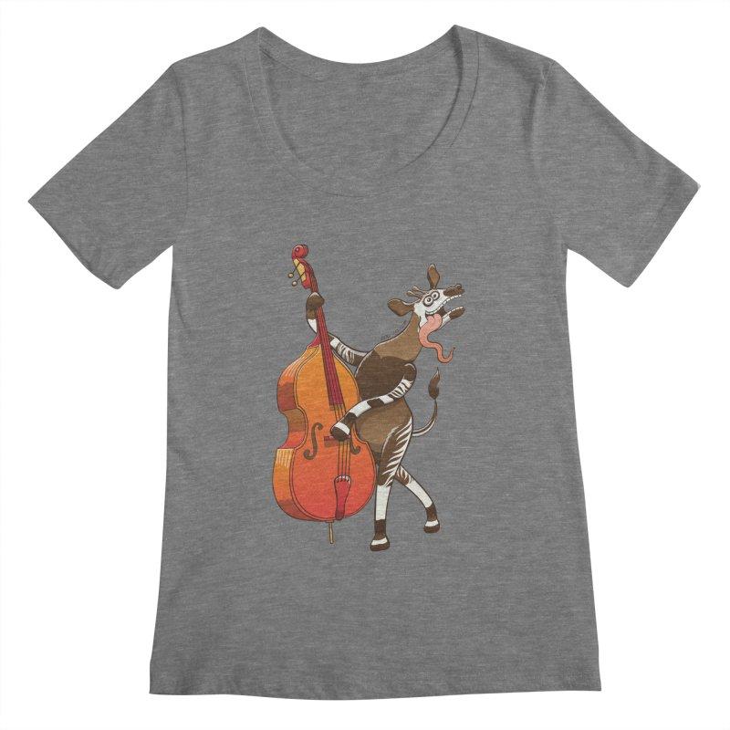 Cool okapi having fun playing double bass Women's Scoopneck by Zoo&co's Artist Shop