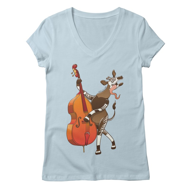Cool okapi having fun playing double bass Women's V-Neck by Zoo&co's Artist Shop