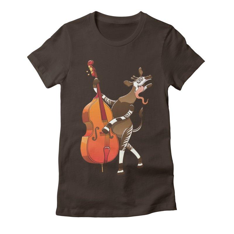 Cool okapi having fun playing double bass   by Zoo&co's Artist Shop