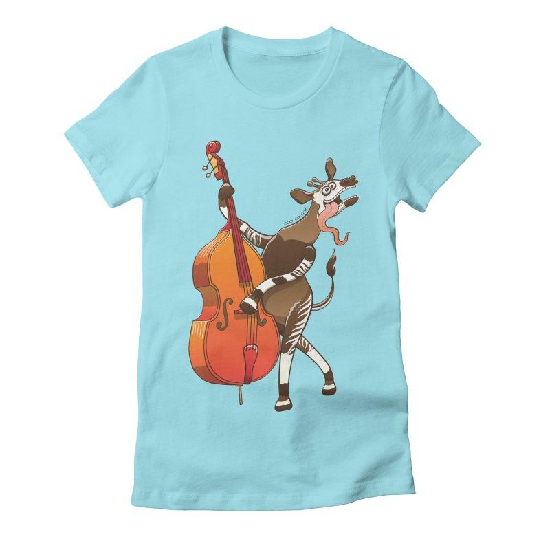 Cool okapi having fun playing double bass Women's Fitted T-Shirt by Zoo&co's Artist Shop