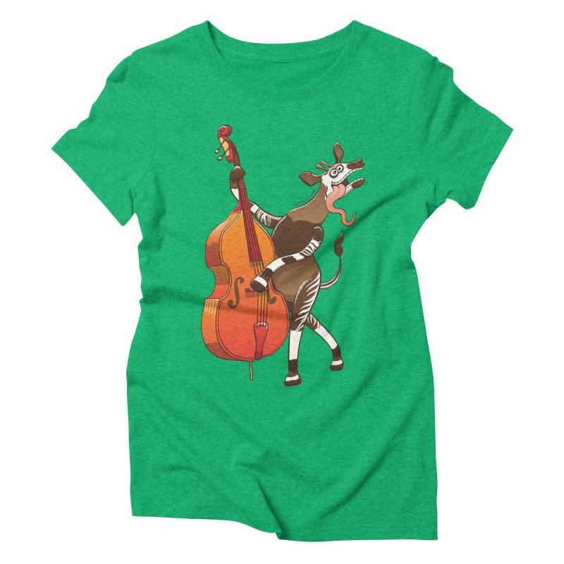 Cool okapi having fun playing double bass Women's Triblend T-shirt by Zoo&co's Artist Shop