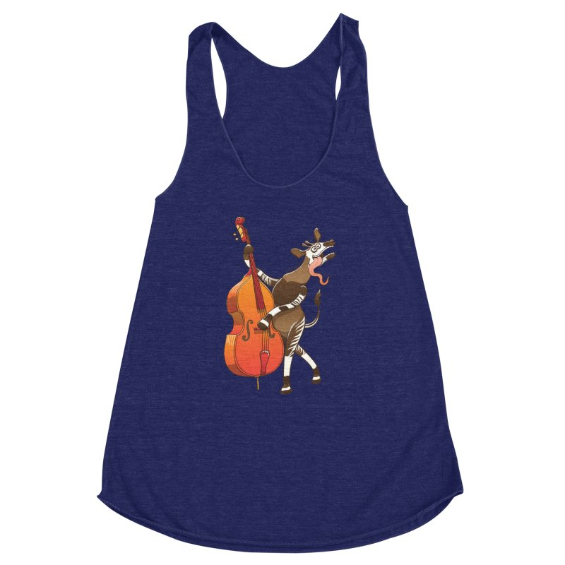 Cool okapi having fun playing double bass Women's Racerback Triblend Tank by Zoo&co's Artist Shop