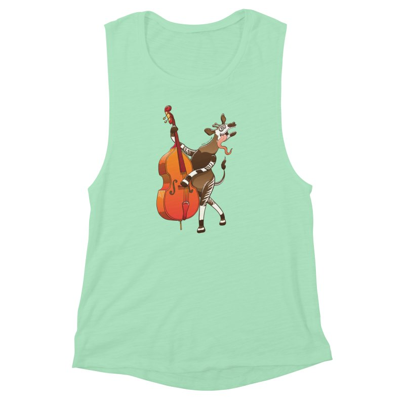 Cool okapi having fun playing double bass Women's Muscle Tank by Zoo&co's Artist Shop