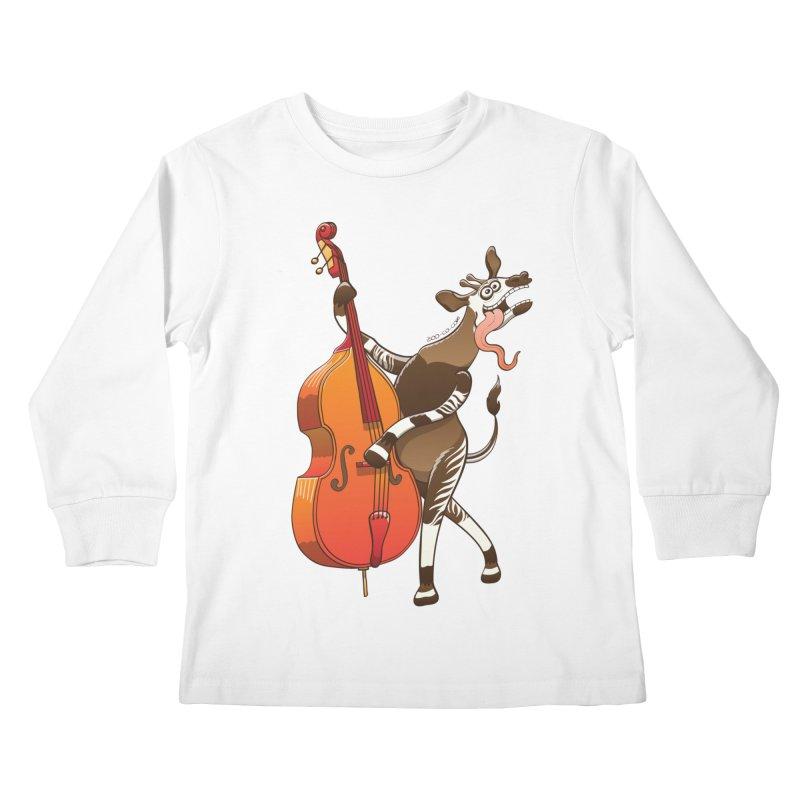 Cool okapi having fun playing double bass Kids Longsleeve T-Shirt by Zoo&co's Artist Shop