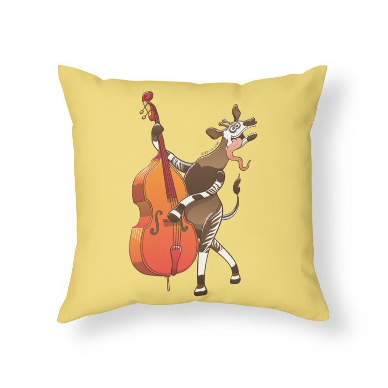 Cool okapi having fun playing double bass Home Throw Pillow by Zoo&co's Artist Shop