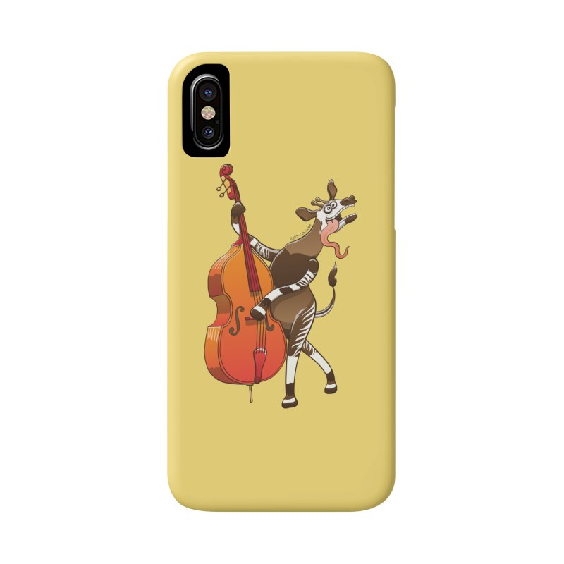Cool okapi having fun playing double bass Accessories Phone Case by Zoo&co's Artist Shop