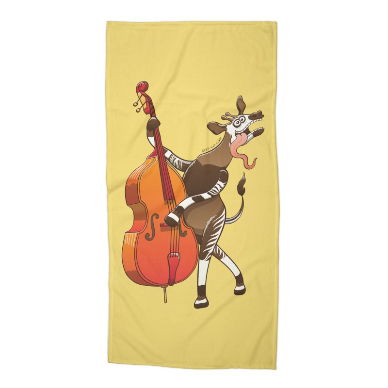 Cool okapi having fun playing double bass Accessories Beach Towel by Zoo&co's Artist Shop