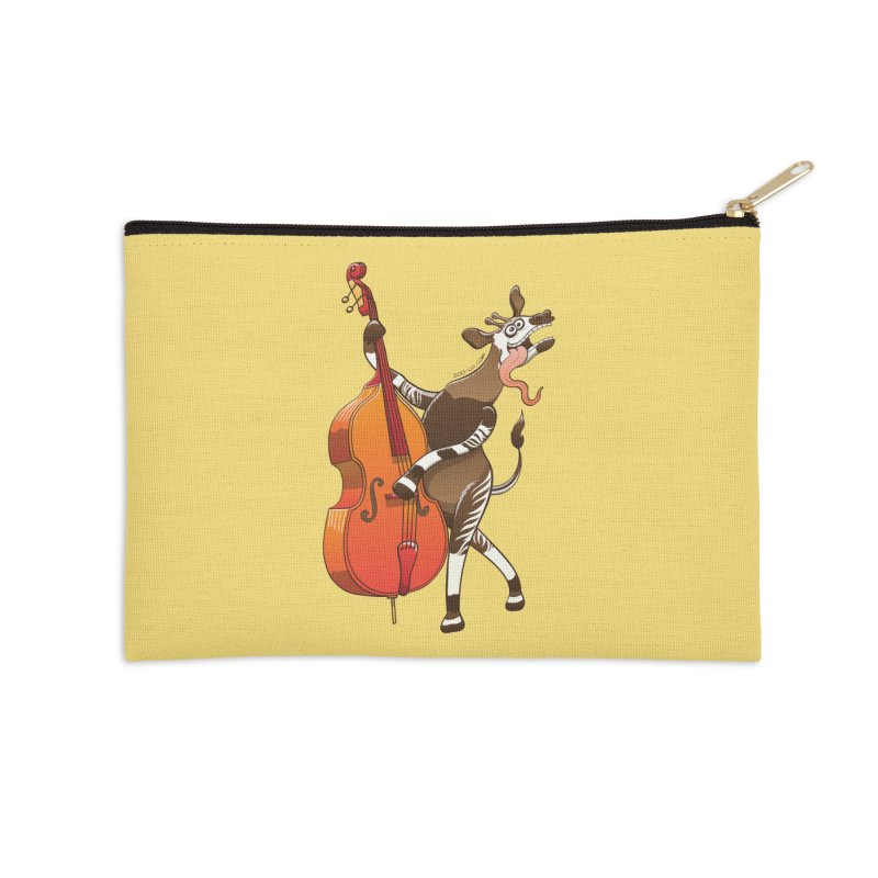 Cool okapi having fun playing double bass Accessories Zip Pouch by Zoo&co's Artist Shop