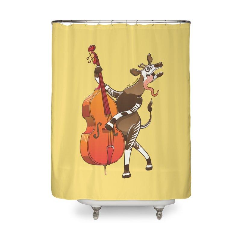 Cool okapi having fun playing double bass Home Shower Curtain by Zoo&co's Artist Shop