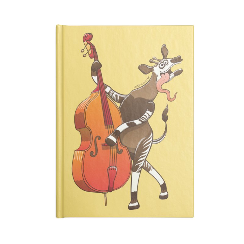 Cool okapi having fun playing double bass Accessories Notebook by Zoo&co's Artist Shop