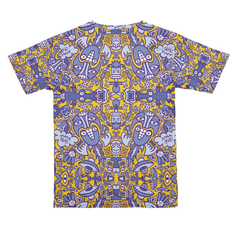 Doodle art creatures in blue and yellow having big fun Men's Cut & Sew by Zoo&co's Artist Shop