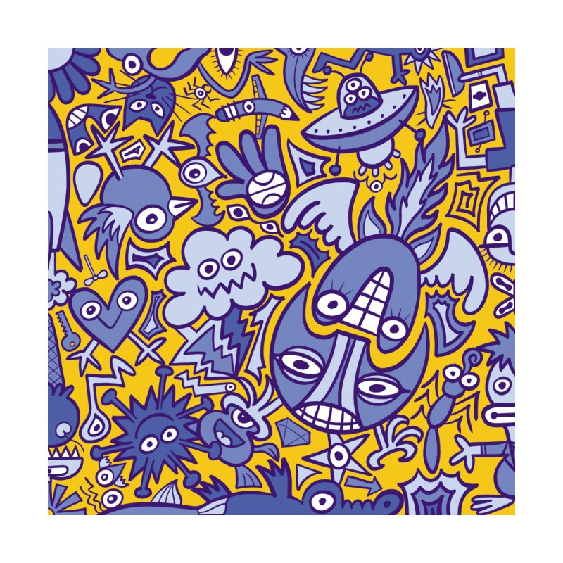 Doodle art creatures in blue and yellow having big fun Accessories Bag by Zoo&co's Artist Shop
