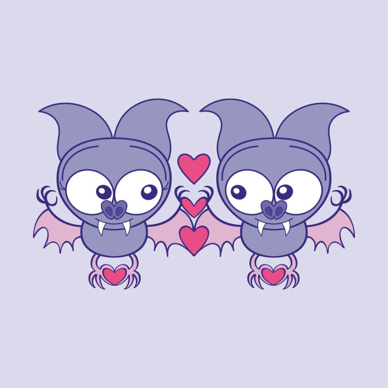 Couple of cute bats madly falling in love Men's Longsleeve T-Shirt by Zoo&co's Artist Shop