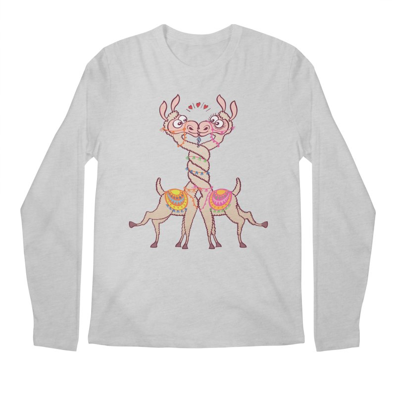 Llamas intertwining necks, falling in love and kissing passionately Men's Longsleeve T-Shirt by Zoo&co's Artist Shop