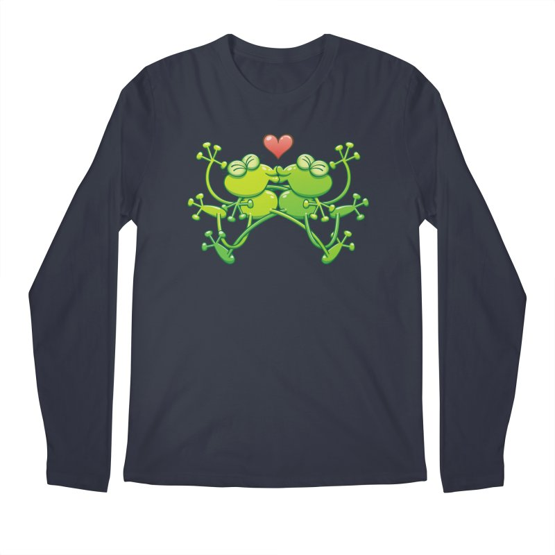 Couple of funny green frogs in love kissing passionately Men's Longsleeve T-Shirt by Zoo&co's Artist Shop