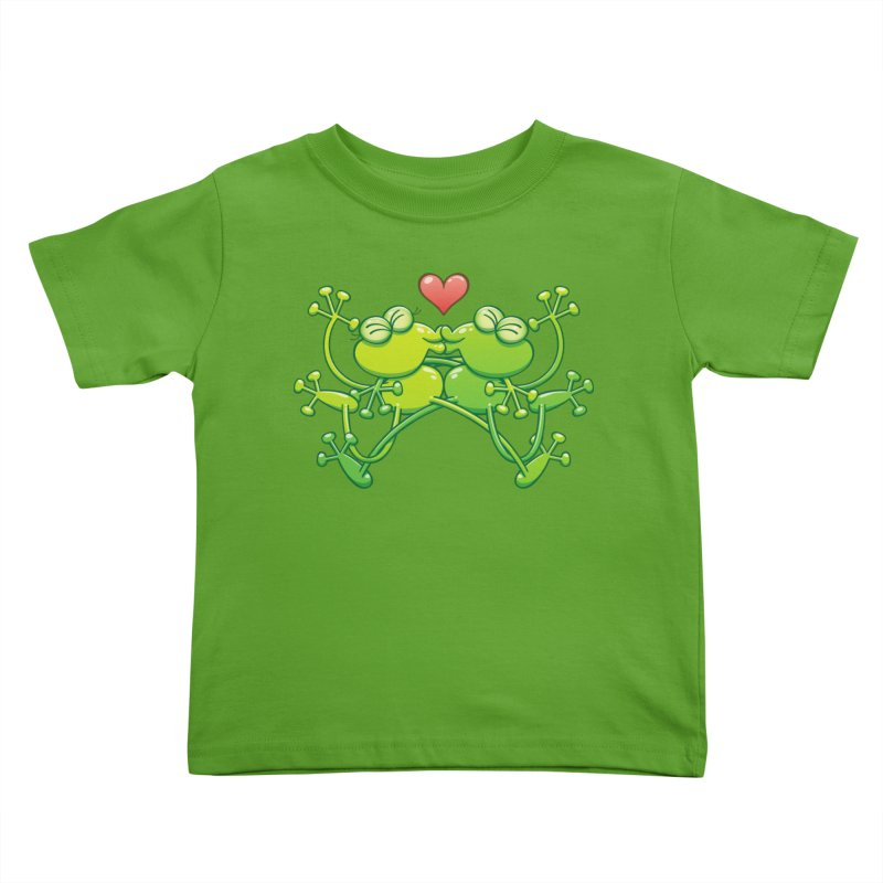 Couple of funny green frogs in love kissing passionately Kids Toddler T-Shirt by Zoo&co's Artist Shop