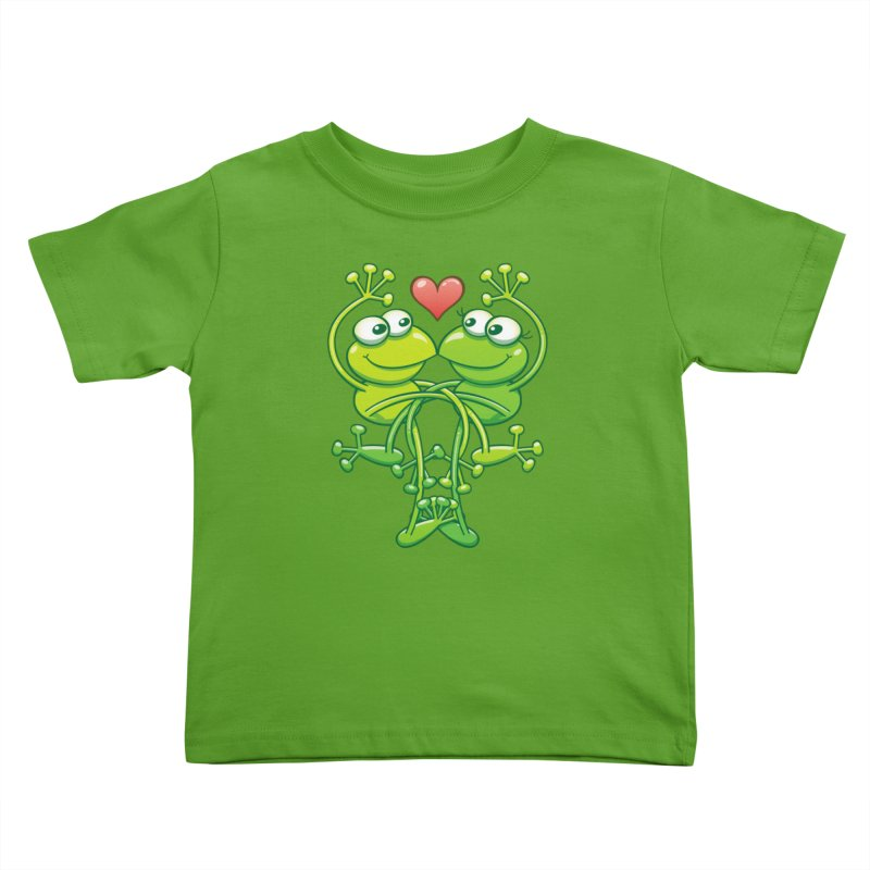 Sweet couple of green frogs intertwining their arms and legs while madly falling in love Kids Toddler T-Shirt by Zoo&co's Artist Shop