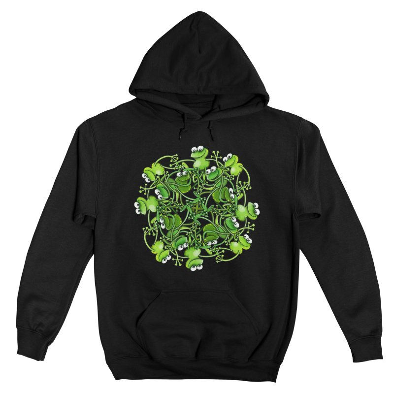 Funny green frogs smiling while performing a choreography Men's Pullover Hoody by Zoo&co's Artist Shop