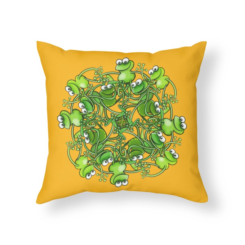 Funny green frogs smiling while performing a choreography Home Throw Pillow by Zoo&co's Artist Shop