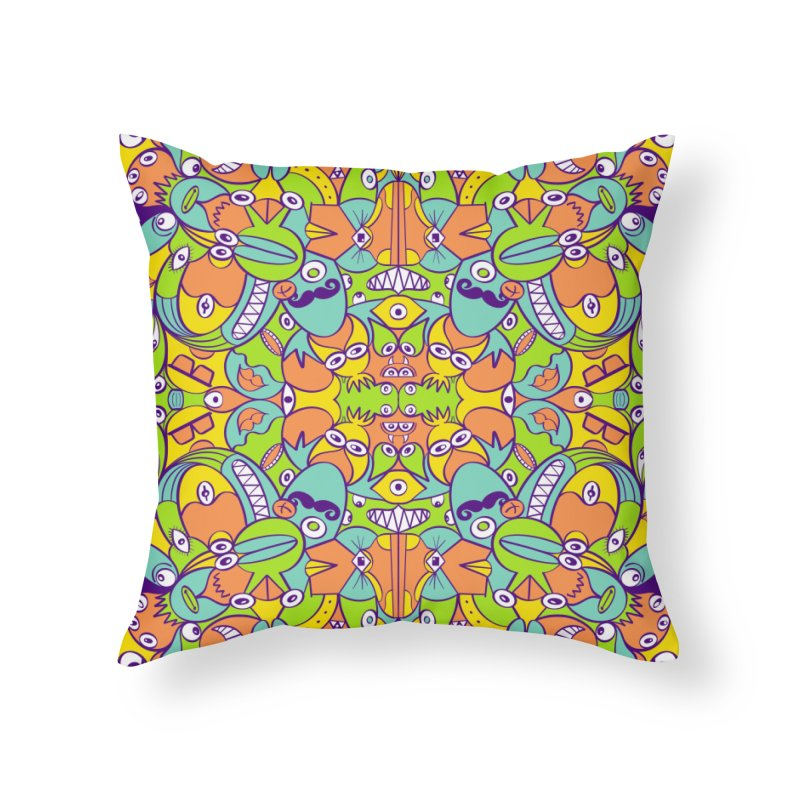 Eccentric critters having a fun day in doodle art style Home Throw Pillow by Zoo&co's Artist Shop