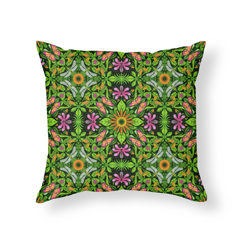 A magical garden full of fantastic flowers and insects Home Throw Pillow by Zoo&co's Artist Shop