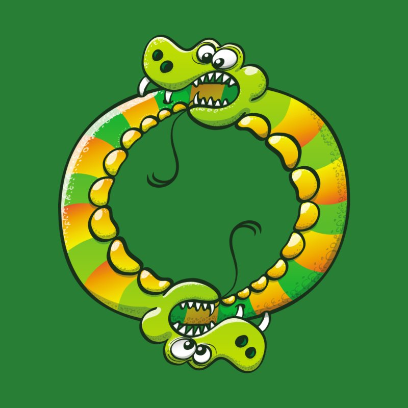 Couple of dangerous snakes forming a circle while bitting each other tail Kids Toddler T-Shirt by Zoo&co's Artist Shop