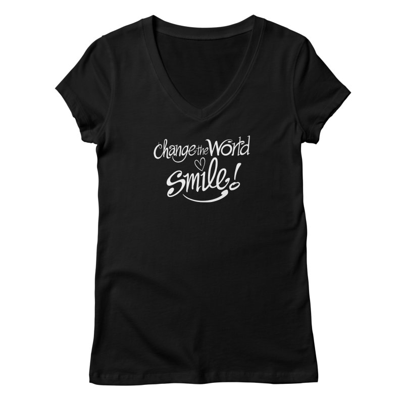 Change the world! Smile! Share! Repeat! Women's V-Neck by Zoo&co's Artist Shop