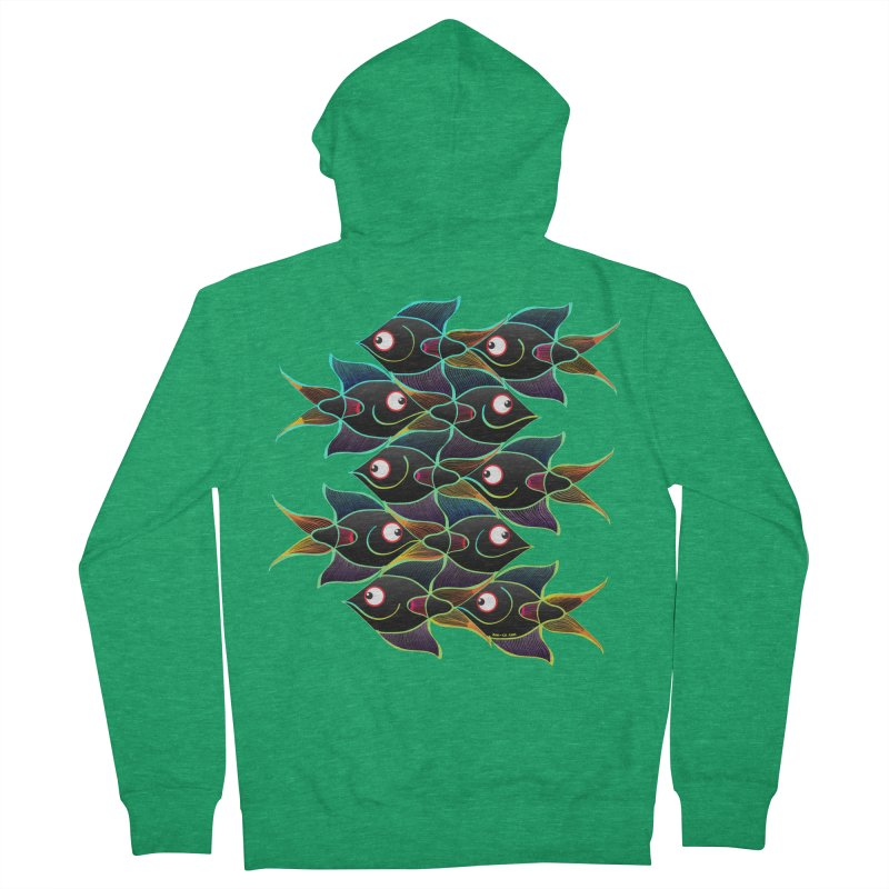 A happy world full of smiling fishes Men's Zip-Up Hoody by Zoo&co's Artist Shop