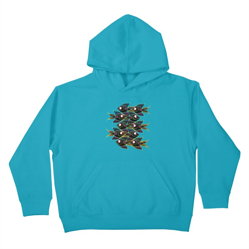 A happy world full of smiling fishes Kids Pullover Hoody by Zoo&co's Artist Shop