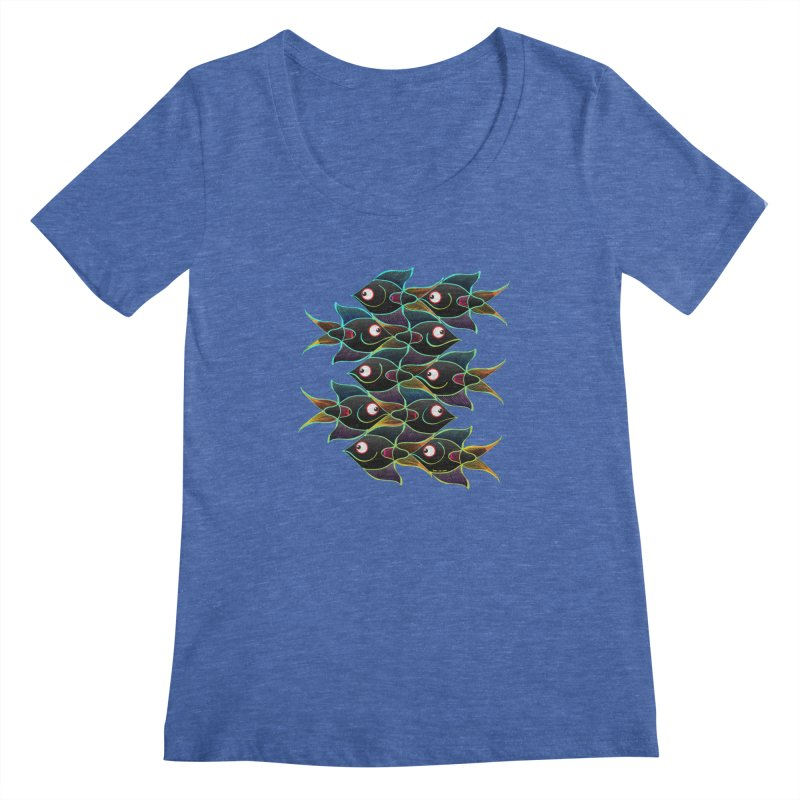 A happy world full of smiling fishes Women's Scoopneck by Zoo&co's Artist Shop
