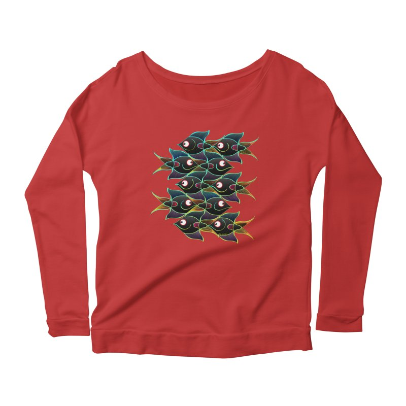 A happy world full of smiling fishes Women's Longsleeve Scoopneck  by Zoo&co's Artist Shop