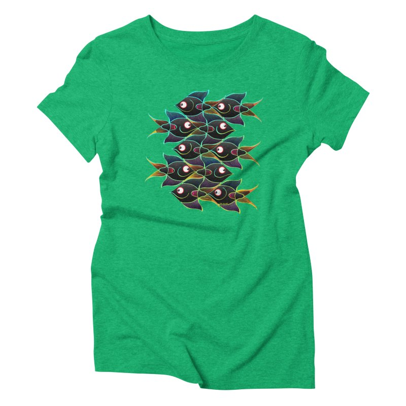 A happy world full of smiling fishes Women's Triblend T-Shirt by Zoo&co's Artist Shop