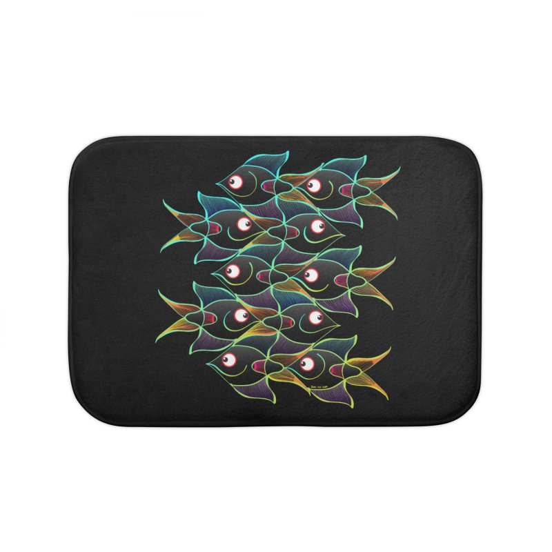 A happy world full of smiling fishes Home Bath Mat by Zoo&co's Artist Shop