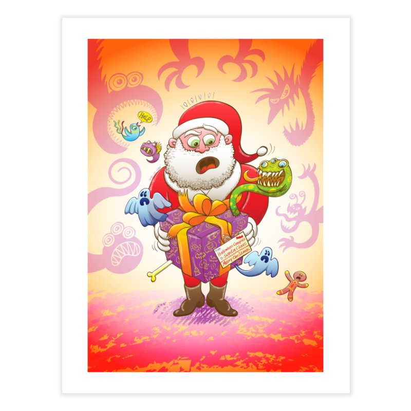 A Christmas gift from Halloween creepies to Santa Home Fine Art Print by Zoo&co's Artist Shop